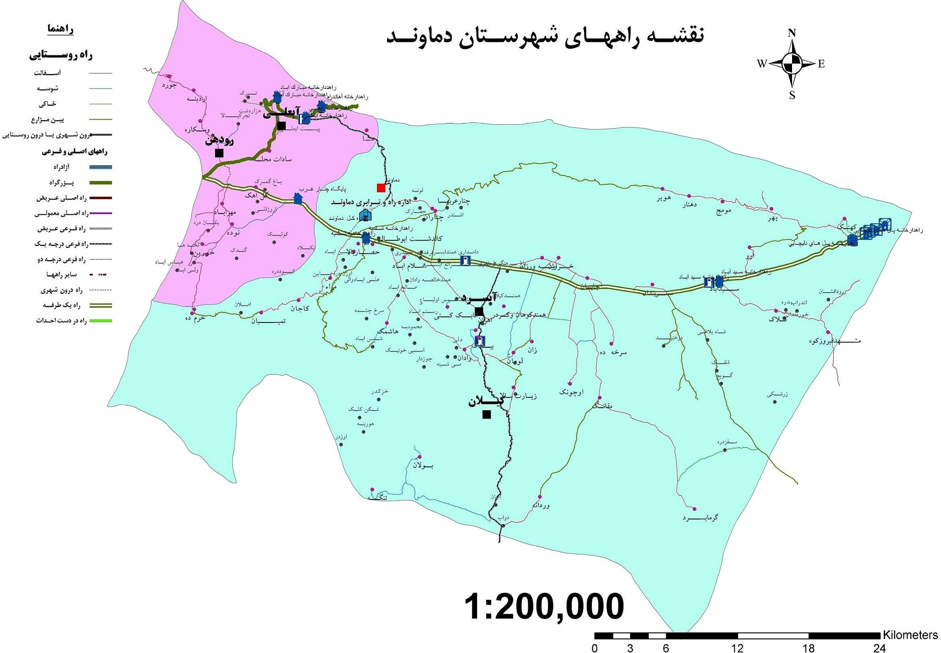نقشه راه دماوند