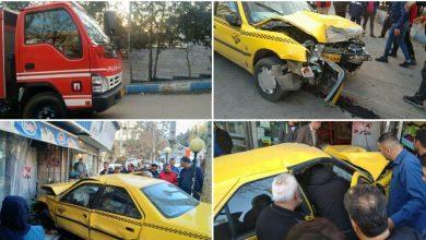 تصویر از حادثه برخورد سواری تاکسی با مغازهای در بلوار لاله صحرای شهر رودهن/ مصدومان راهی بیمارستان شدند