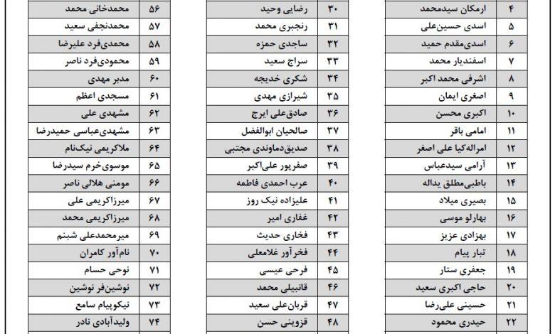 لیست اسامی ثبت نام کنندگان انتخابات مجلس دماوند و فیروزکوه