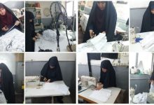 تصویر از اقدام جهادی بانوان طلاب مدرسه علمیه شهر دماوند در تولید ماسک و لباس پرستاری جهت پیشگیری از کرونا