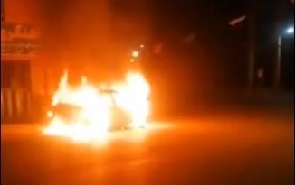 تصویر از آتشسوزی عمدی یک دستگاه خودرو سواری پراید در روستای حصار بالا دماوند